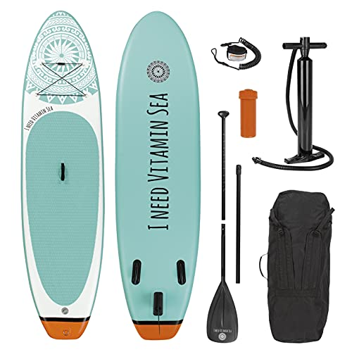 EASYmaxx - MAXXMEE Stand-Up Paddle-Board 'I Need Vitamin SEA' | Inkl. Tragetasche,...