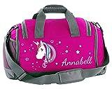 Mein Zwergenland Multi Sporttasche Kinder mit Schuhfach und Feuchtfach Sporttasche mit Namen Einhorn als...