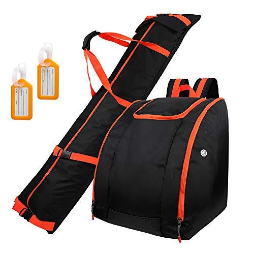 Zacro Skisack und Skischuhtasche Kombi Set mit 2 Gepäckanhängern, Geeignet für Reisen,...