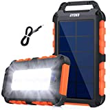 Solarladegerät Solar Powerbank 10000mAh,Schnellladung Solarladegerät mit 2 Ausgänge...