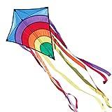 CIM Kinder-Drachen - Rainbow Eddy BLUE - Einleiner-Flugdrachen für Kinder ab 3 Jahren - 65x72cm - inkl. 80m...