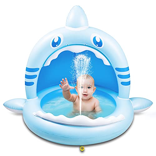 Weokeey Baby Pool mit Dach, Hai Baby Planschbecken als Sonnenschutz Baby Schwimmbecken mit...