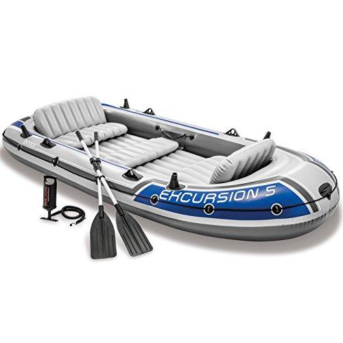 Intex 68325EP Excursion aufblasbares 5-Personen-Angelboot Floß-Set mit 2 Aluminiumrudern...