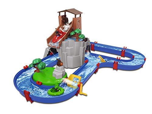 BIG Spielwarenfabrik 8700001647 AquaPlay - AdventureLand - Wasserbahn mit Berg, Turm und...
