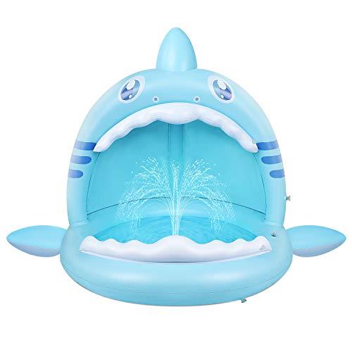 Baby Pool,Hai Planschbecken für Kleinkinder mit Überdachung,Kinder Aufblasbarer Pool mit...