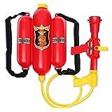 LVPY Feuerwehr Wasserspritze mit Rückentank Feuerwehrmann Spielzeug für Kinder, ca. 40 cm