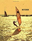 Notebook: Windsurfing Surfing Sunset Watercolor Painting Lined Journal Diary