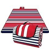 Homfa 200 x 200 cm Picknickdecke XXL Stranddecke aus Fleece Wasserdicht groß Faltbar Leicht mit Tragegriff...