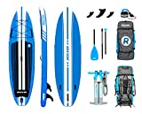 iROCKER All-Around Aufblasbares Stand Up Paddle Board 3,04 m lang 81 cm breit 15 cm Dickes SUP Set (Blau 2019)