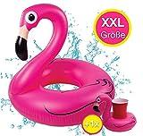 TK Gruppe Timo Klingler Flamingoring 120 cm Schwimmring Flamingo aufblasbar Pool & Wasser mit Getränkehalter...