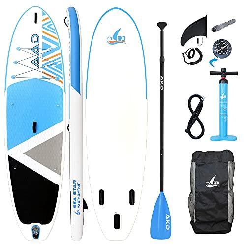 AKD SUP Board Sea Star 10'8' 325 x86 x15cm Paddle Board Aufblasbar 165KG/346L, Pumpe mit...