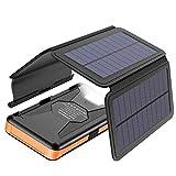 X-DRAGON Solar Powerbank 25000mAh Solarladegerät mit 4 Solarzellen, LED Taschenlampe und Wasserdichter...
