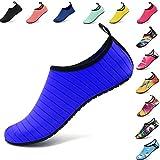 VIFUUR Wassersport Schuhe Barfuß Quick-Dry Aqua Yoga Slip-on für Männer Frauen Kinder Blau EU38/39