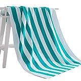 Exclusivo Mezcla Strandtuch aus 100% Baumwolle, Pool-Handtuch gestreift Blau weiß (76,2 x 152,4 cm), schnell...