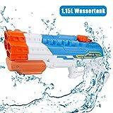 infinitoo Wasserpistole Spritzpistole 4 Düsen Water Gun mit 1,15 Liter Wassertank, 8-10 Meter Reichweite...