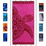 DecoKing Strandtuch groß 90x180 cm Baumwolle Frottee Velours Badetuch Fuchsia rosa rot...