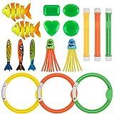 Anpro 16Stk Tauchen Spielzeug, 3 Tauchringe 3 Toypedo Bandits, 3 Tauchstöcke 3 Tauchfisch, 2 Funny Squid 2...