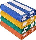 Utopia Towels - 4er Pack XXL Strandtuch Baumwolle Cabana Stripe - 76 x 152 cm (blau, gelb, grün, orange)