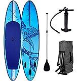 SUP Board Stand up Paddle Paddling Surfboard Shark Blau 300x76x15cm aufblasbar Alu-Paddel...