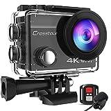 Crosstour Action Cam 4K 20MP WiFi Fernbedienung und Externes Mikrofon EIS Helmkamera...