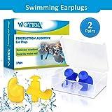 WOTEK Ohrstöpsel Schwimmen 2 Paar wasserdichte Wiederverwendbare silikon ohrstöpsel, weiches Silikon,...