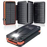 elzle Solar PowerBank 26800mAh, Solar Ladegerät mit 4 Sonnenkollektoren, Taschenlampe,...