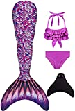 Duosilin Mädchen Meerjungfrauenschwanz Bikini Set Mermaid Tail zum Schwimmen mit...
