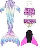 Flyhigh Meerjungfrauenschwanz Zum Schwimmen mit Meerjungfrau Flosse, Water Pink, 145-155cm...