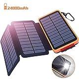Powerbank Solar Externer Akku 24000mAh Solar Ladegerät mit 3 Solar Panels Dual USB 2.1A, Notfall-Energie mit...