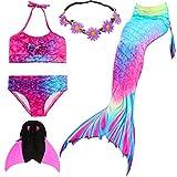 UniDesign Meerjungfrau Flosse Zum Schwimmen Meerjungfrau Schwanz mit Flosse mit Bikini für Kinder Mädchen,...
