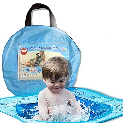 Smart Planet® Pop-Up Strand Pool für Kleinkinder - 80 x 80 x 15 cm Planschbecken für...
