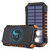 Hiluckey Wireless Solar Powerbank 26800mAh Wasserdichtes Solar Ladegerät USB C Externer...