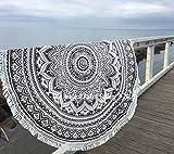 Überwurf, Strandtuch, Yogamatte, indisches Mandala, rund, Baumwolle, Tischdecke Strandtuch, runde Yogamatte,...