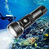 VOLADOR Tauchen Taschenlampe, 4000 Lumen Tauchlampe CREE XHP 70.2 Unterwasser Taschenlampe...
