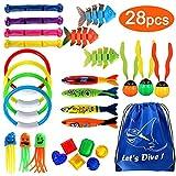 Joinfun 28stk Tauchen Spielzeug Pool Spielzeug Tauchringe Kinder Tauchen Kinder Schwimmbad Spielzeug Torpedo...