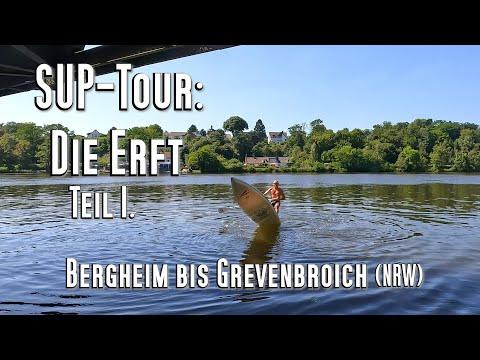 SUP-Tour auf der Erft, 15km in 3:30h. Tolle Einsteigertour für Flussfahrten, ideal auch für Familien